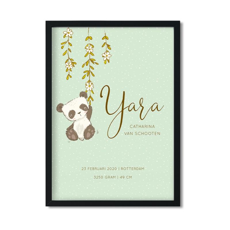 Poster 'Geboorteposter Panda's' - pastel mintgroen A4 / A3