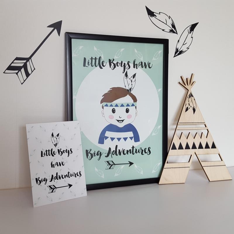 Poster 'Little Boys have big adventures' 21 X 29,7 cm A4