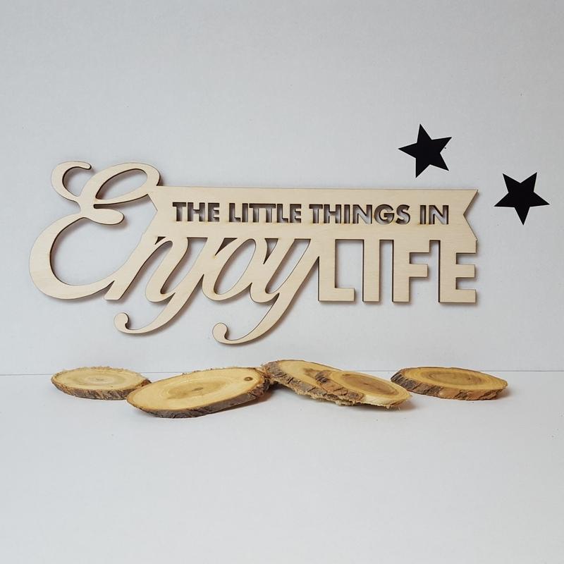Muurteksten Op Hout.Houten Tekst Enjoy The Little Things In Life Houten