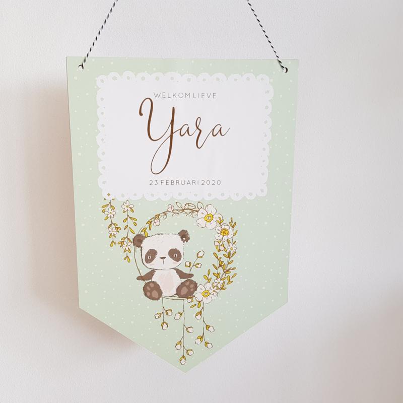Houten Geboortevlag 'Panda', 20 x 30 cm
