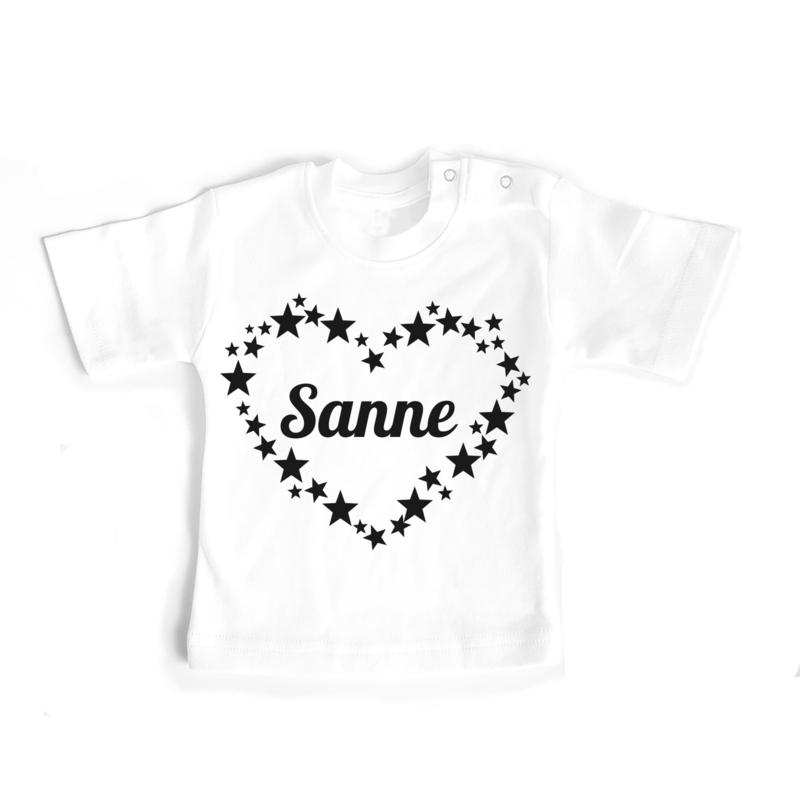 T-shirt Naam in hart van sterren