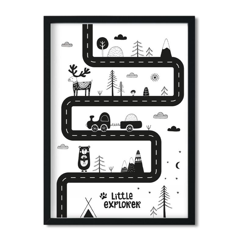Poster 'Little Explorer met autoweg'
