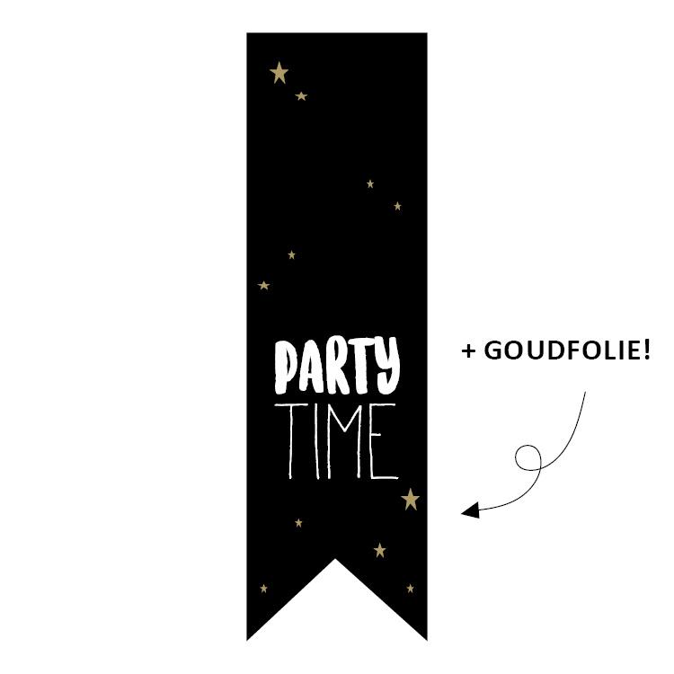 Etiket Party Time - vaantje - 10 stuks