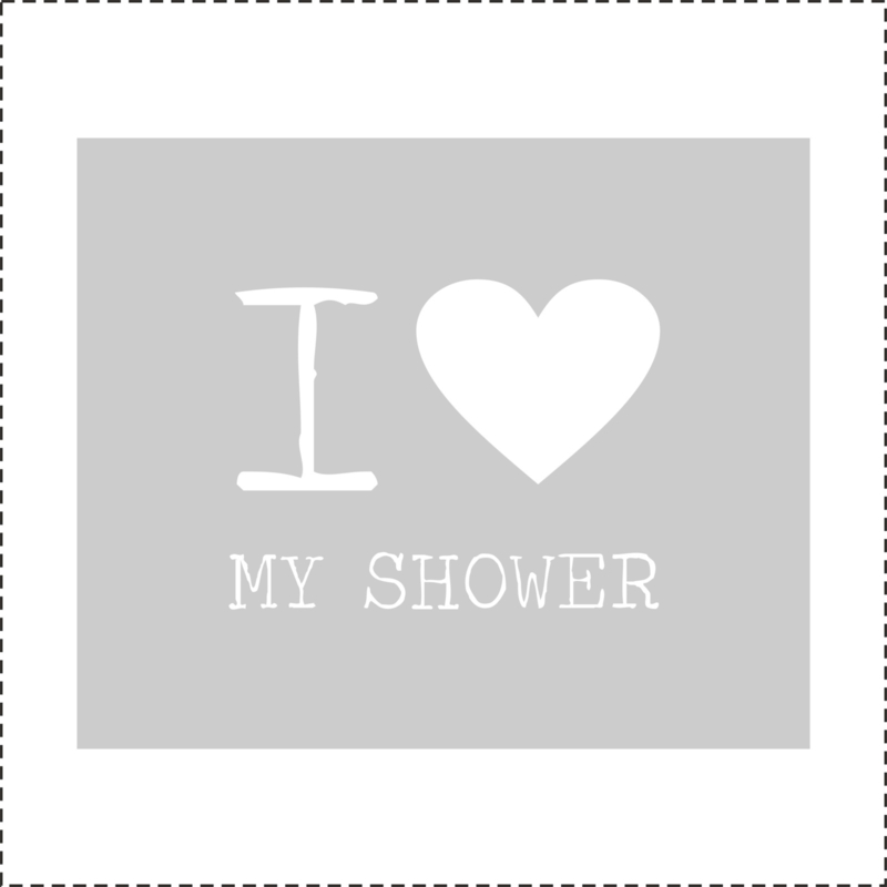 Glasfoliesticker I love my Shower - band