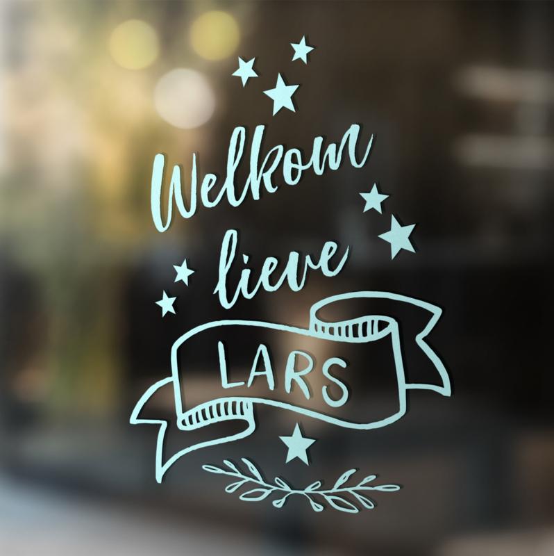 Geboortesticker 'banner - met sterren'