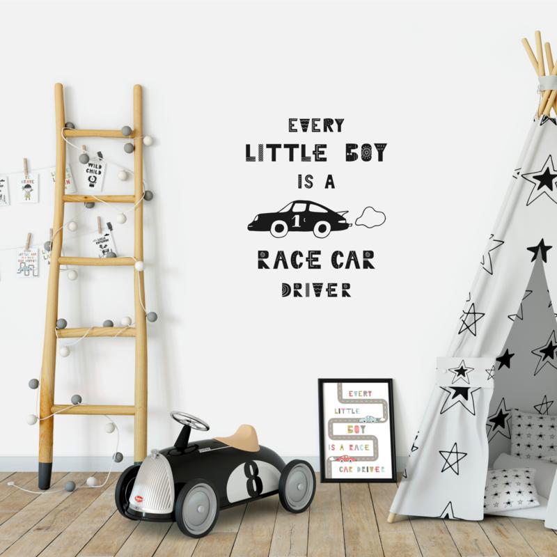 Muursticker 'Every little boy is a race car driver'