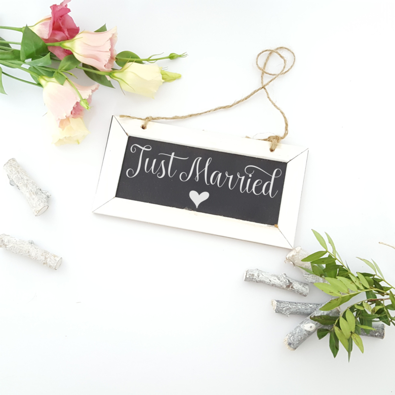 Schoolbordje 'Just Married'