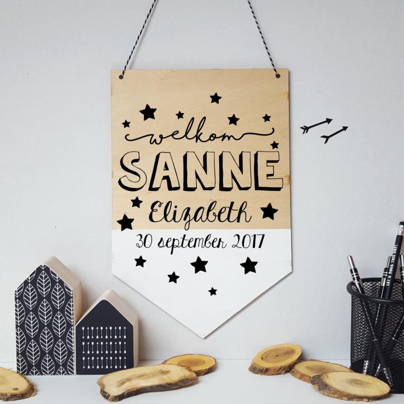 Houten banner 'Welkom met sterretjes'