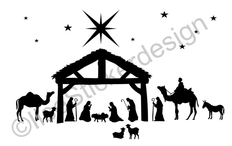 Raamsticker Kerststal, HERBRUIKBAAR