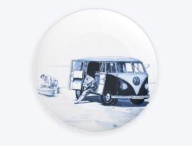 Heinen Delfts Blauw Bord met het busje