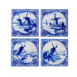 Heinen Delfts Blauw Onderzetter Molens 4 st.