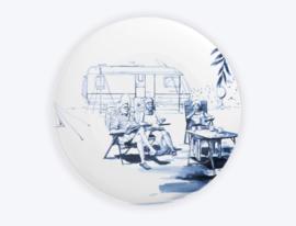 Heinen Delfts Blauw Bord op de camping