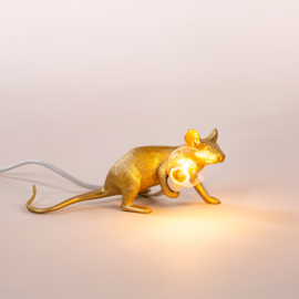 Seletti Mouse lamp lie down gold