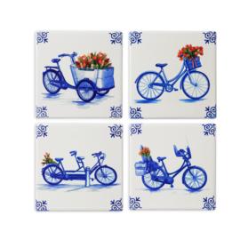 Heinen Delfts Blauw Onderzetter Fiets 4 stuks