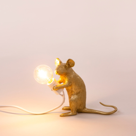 Seletti Mouse lamp sitting gold