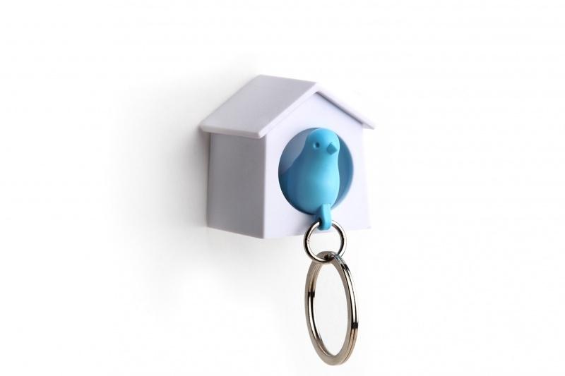 mini sparrow keyring blauw