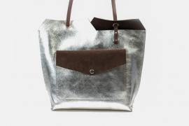 Zilver / donkerbruin leren shopper