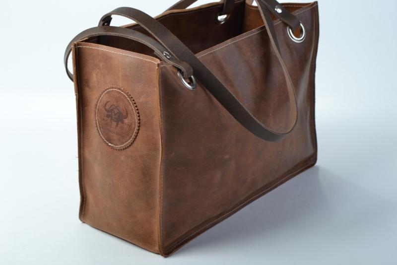Betere Bruine leren schoudertas met uitneembaar binnenvak   Leren tassen ZL-88