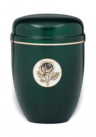 Groene urn met roos