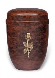 Bruine urn met roos