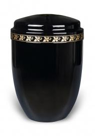 Zwarte urn met sierband