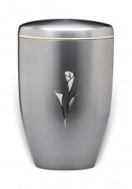 Aliminium urn met bloem