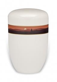 Witten urn met berg landschap