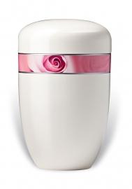 Witte urn met roos