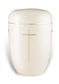 Witte urn met kruis