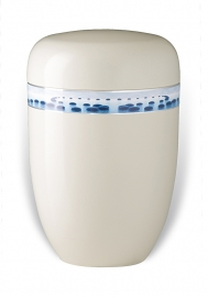 Witte urn met rotsen in water