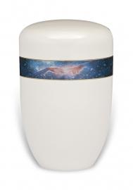 Witte urn met hand van god