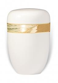 Witte urn met afbeelding strand / branding