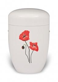 Witte urn met klaproos