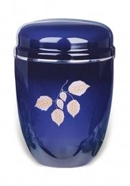 Blauwe urn met bladeren
