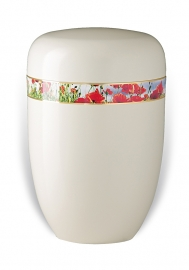 Witte urn met klaprozen