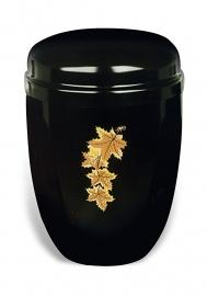 Zwarte urn met bladeren