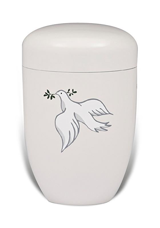 Witte urn met duif
