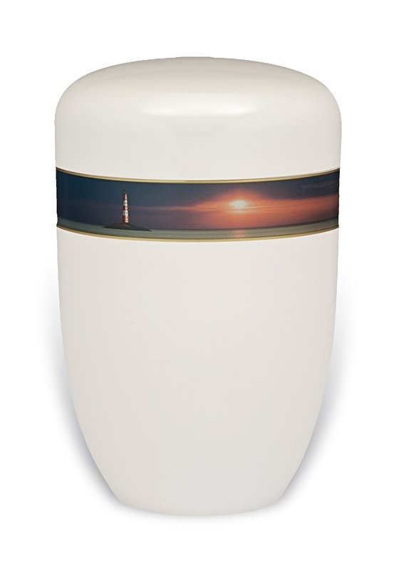 Witte urn met vuurtoren
