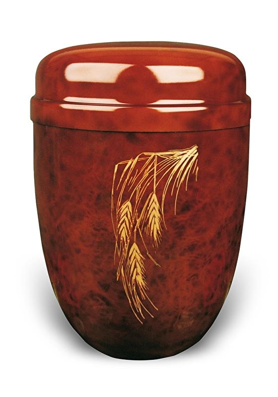 Bruine urn met graanhalm