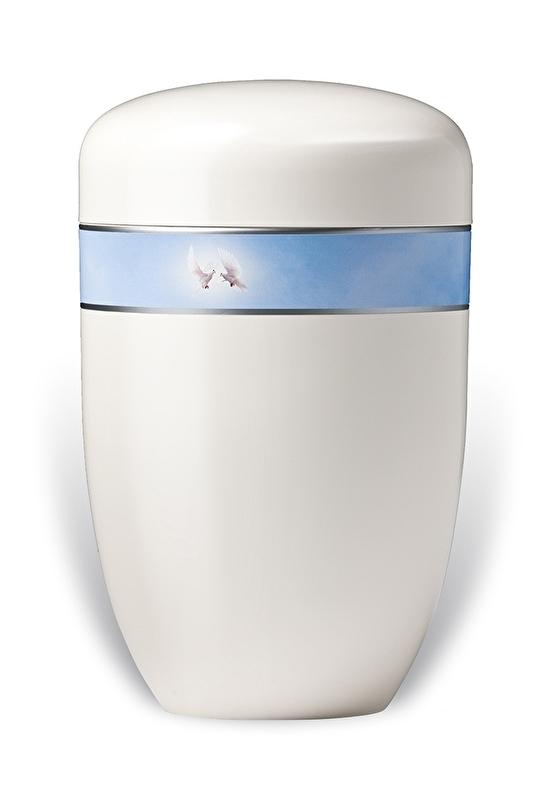 Witte urn met duiven