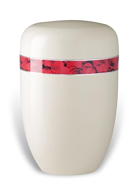 Witte urn met band van rozen blaadjes