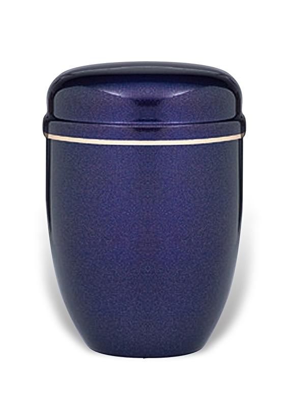 Blauwe urn met band