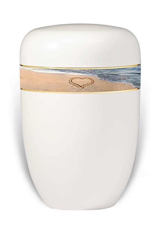 Witte urn met branding en hart