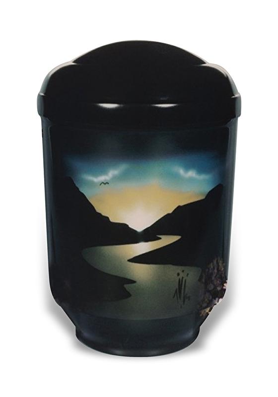 Zwarte urn met rivier