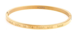 "Gouden slavenarmband met ""I love you to the moon and back"""