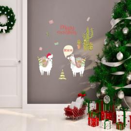 Muur- en raamsticker Lama Kerstmis