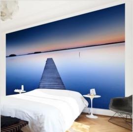 Vlies Fotobehang Steiger bij Zonsondergang (vanaf)
