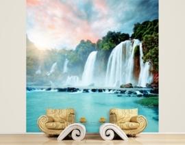 Vlies Fotobehang; Panorama van een Waterval (vanaf)