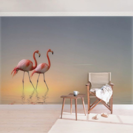 Behang Flamingo Love (vanaf)