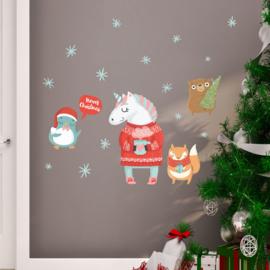 Muur- en raamsticker Unicorn Kerstmis